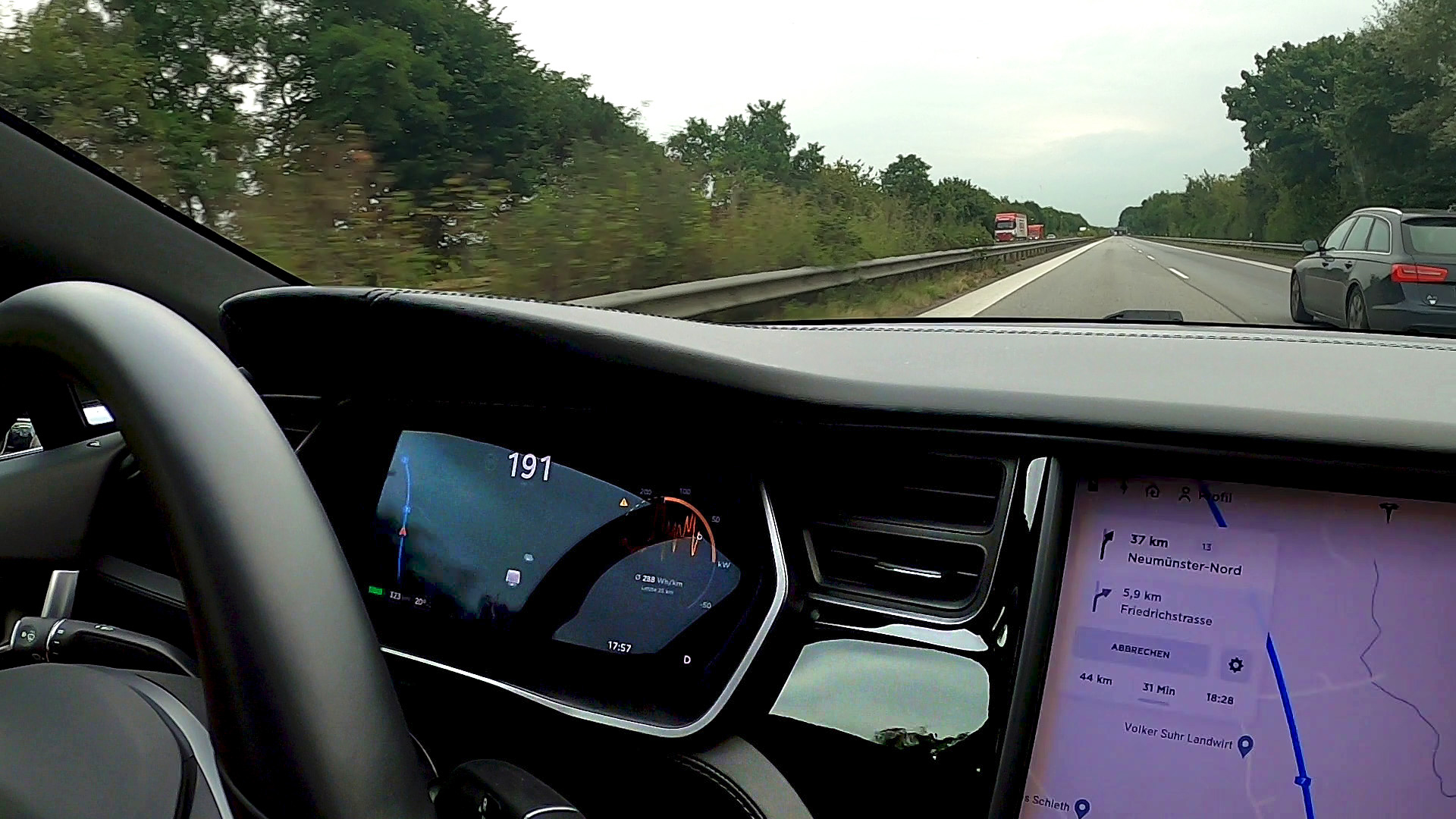 Model S overtaking an Audi A6 at 191 km/h (118.69 mph) on the Autobahn