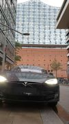 Model S in Hamburg with the Elbphilharmonie the background