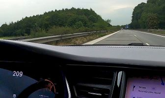 Model S traveling with 209 km/h on the Autobahn