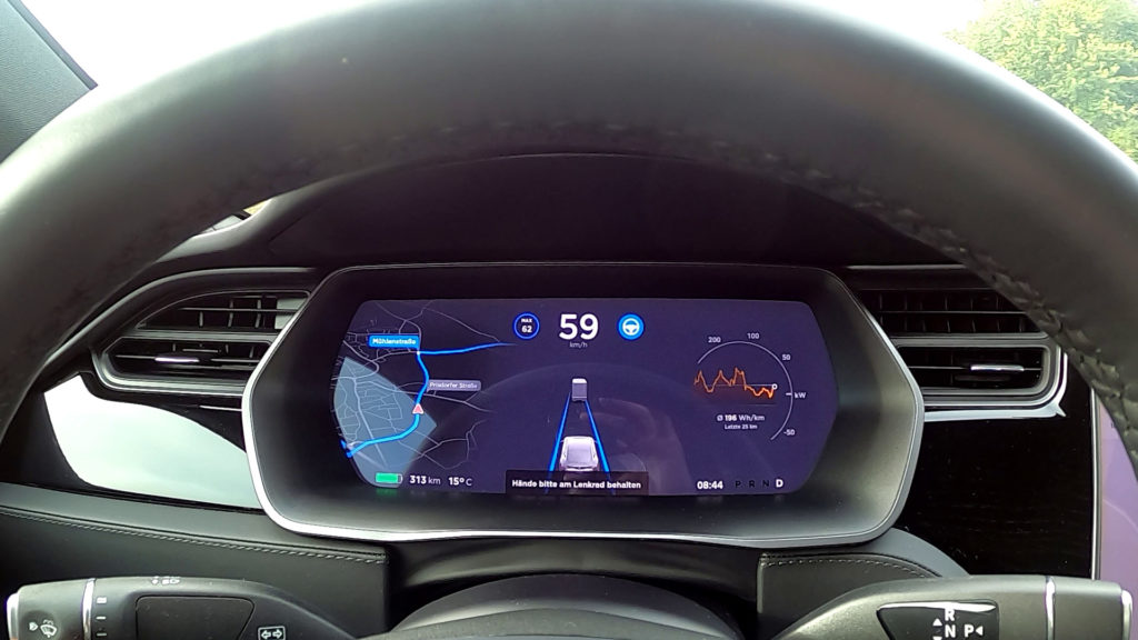 Tesla Model S Autopilot asks Please hold your hands on the steering wheel