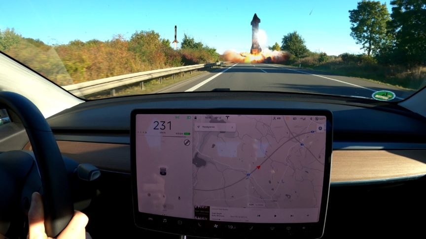 Model 3 rushing with 230 km/h on Autobahn to reach Falcons landing and Starship SN8 launching
