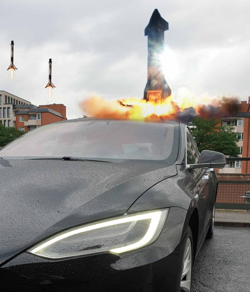 Tesla Model S with Falcons landing and Starship SN8 launching in the background