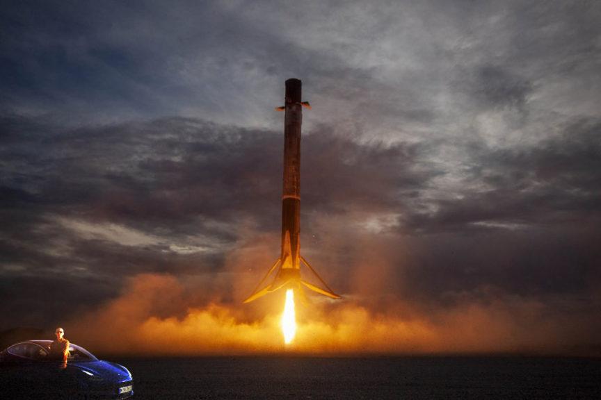 Model 3 near Falcon 9 booster landing vertically