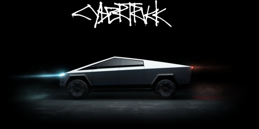 Tesla Cybertruck side view, dark