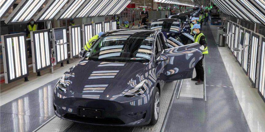 Tesla Gigafactory Shanghai Model Y general Assembly line