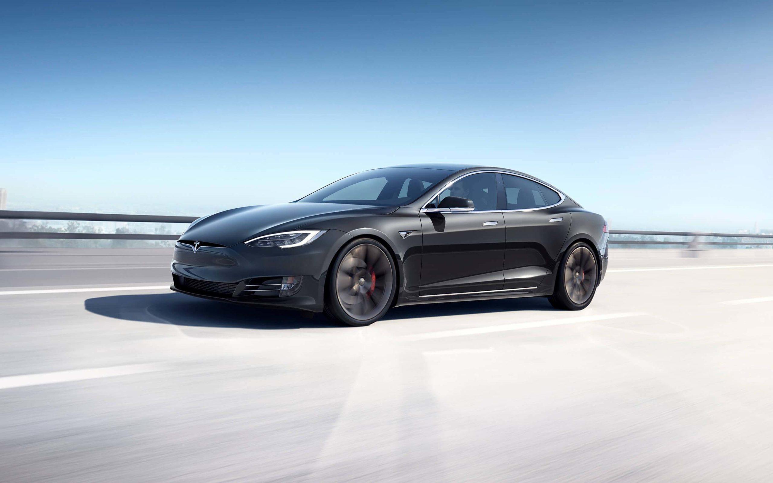 gray Tesla Model S Performance on the freeway