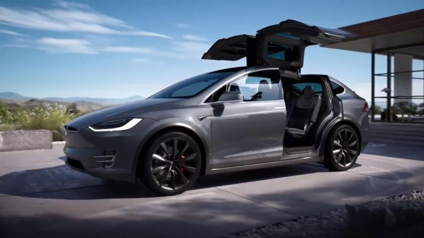 Tesla Model X Falcon Wings doors opened